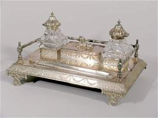 A silver plated desk stand, late 19th century, in r