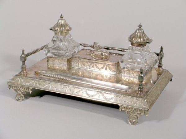 5B: A silver plated desk stand, late 19th century, in r