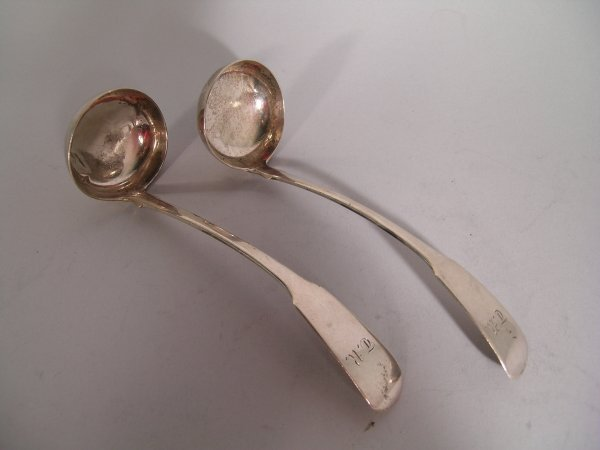 15B: A pair of George III fiddle pattern, silver toddy