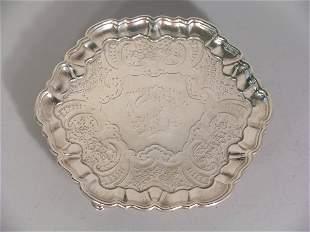 A silver card salver Benjamin Godfrey, London 1740
