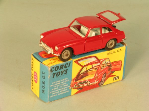 2C: Corgi Toys no. 327 MGB GT in blue and yellow card b