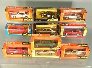 A group of ten boxed Solido touring cars from the 1