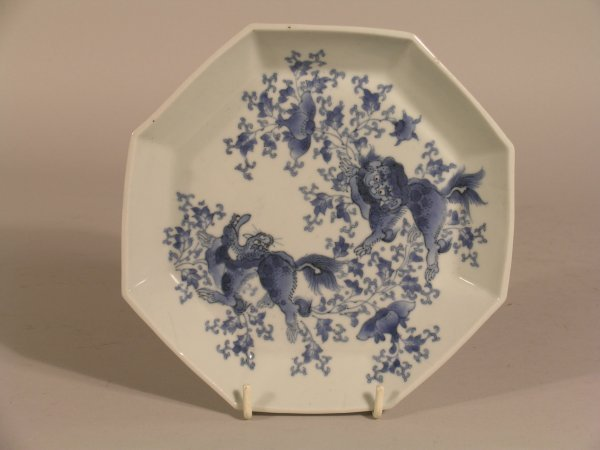3D: A Japanese octagonal blue and white porcelain dish,