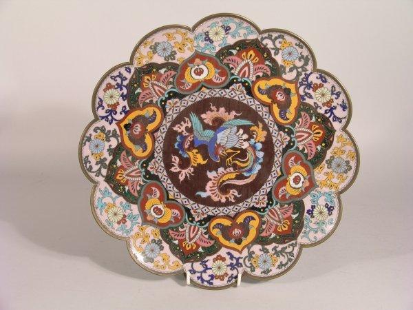8D: A Japanese Nagoya cloisonne lobed dish, 19th / 20th