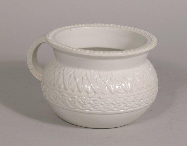 17D: A Belleek miniature chamber pot 1877, the white gl