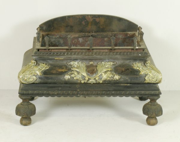 162D: A William IV fire basket, iron with cast brass mo