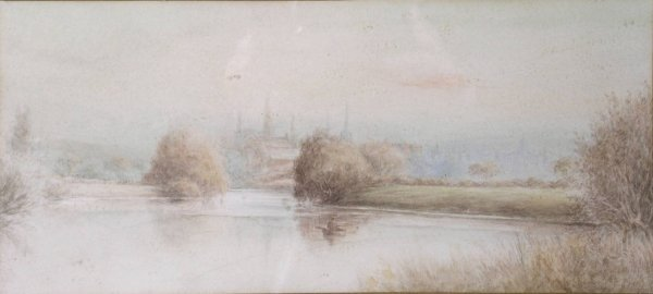 6B: Attributed to Henry Walton, 'On the Severn', waterc
