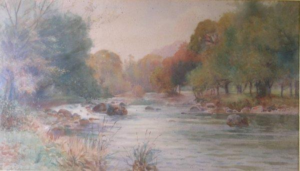 16B: Arthur Netherwood, 'An autumnal river landscape',