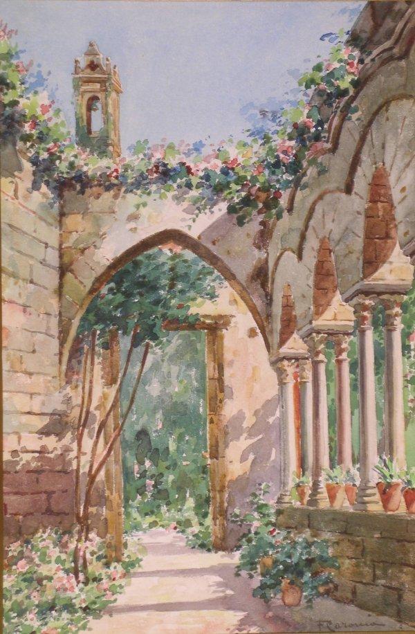 18B: F Caronia, 'A sunlit terrace', watercolour, signed