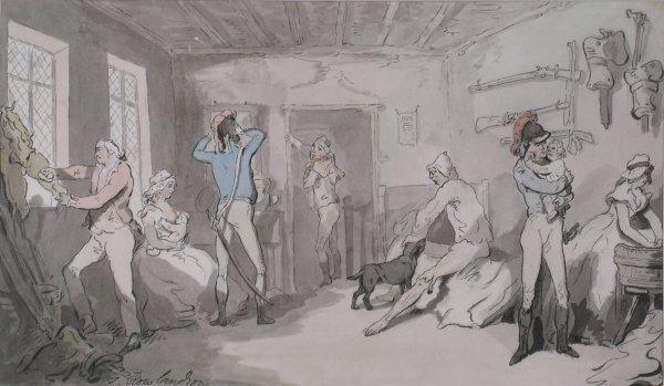 19B: After Thomas Rowlandson, 'The army billet', waterc