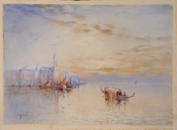 21B: C R Yates, 'The Venetian Lagoon', watercolour, sig