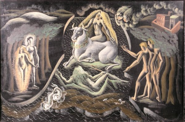 22B: Enid Lacey, 'Europa', a design for a mural, oil on
