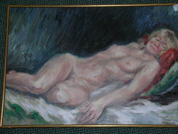23B: Francis Rudolf, 'Reclining nude', oil on board, si