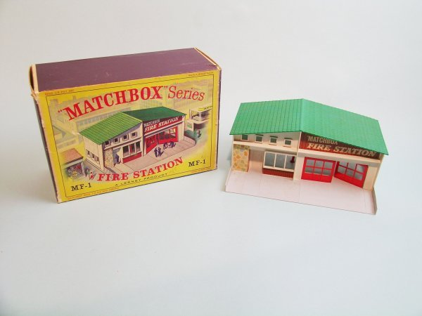 10C: A Matchbox MF-1 fire station in original box, this