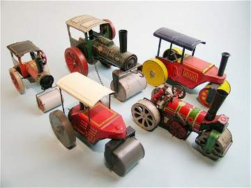 73C: A group of five clockwork road rollers by various