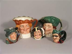Five Royal Doulton character jugs, to include; The