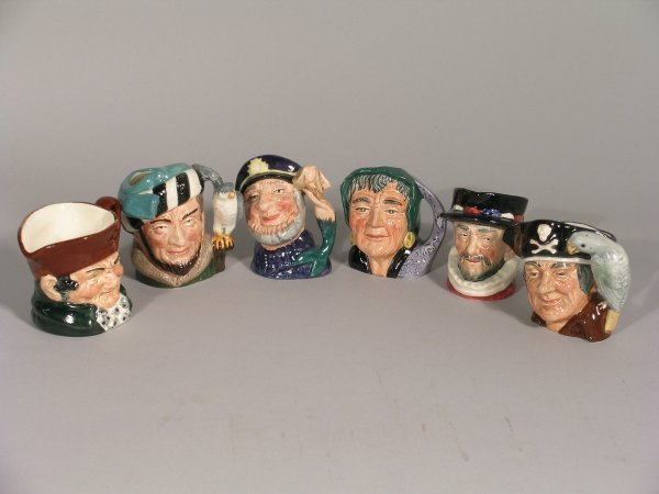 2B: A collection of six Royal Doulton character jugs to