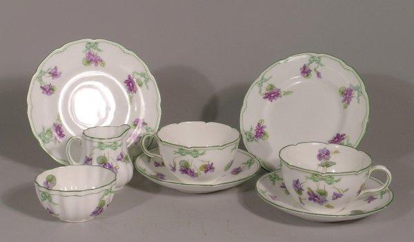 13B: A Royal Doulton Violet pattern tea for two service