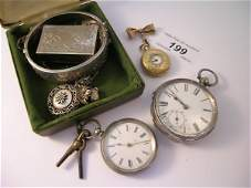 199B A silver cased open faced pocket watch a ladys