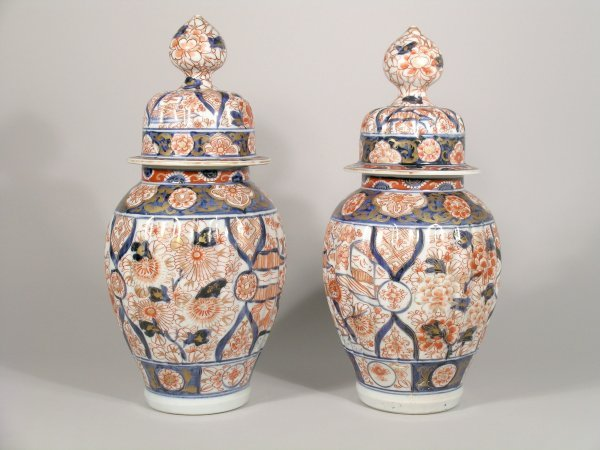 2C: A pair of Japanese Imari vases and covers, early 20