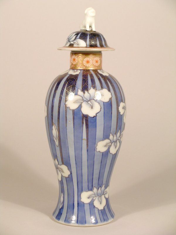 5C: A Japanese Fukagawa baluster vase and cover, early