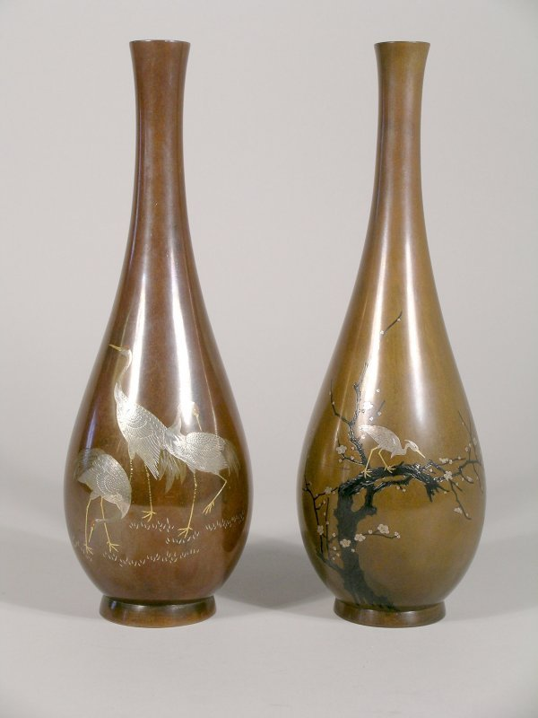 11C: A matched pair of Japanese bronze and inlaid pear