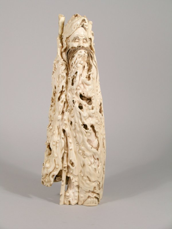 13C: A Japanese mammoth tusk carving of an old man, lat