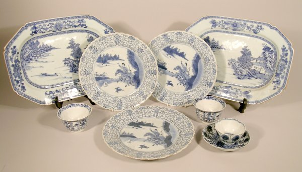 20C: A collection of Chinese export blue and white porc