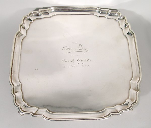23B: A silver salver, Heming & Co Ltd, London 1935, of