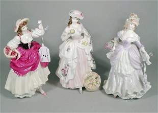 Three Coalport figures from the Cries of London col