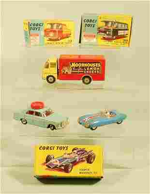 A group of six Corgi toys dating from the 1960s, to