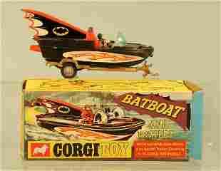 A boxed Corgi Toys No.107 Batboat on trailer, the