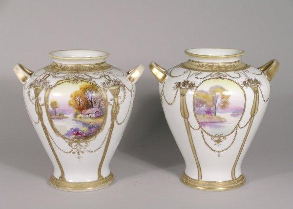 6B: A pair of Noritake two handled porcelain vases, ear