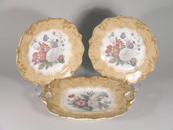 9B: A Prattware floral part dessert service 19th centur