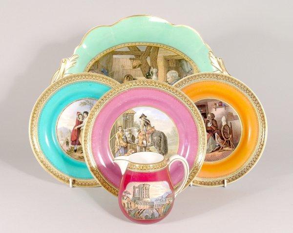 "10B: Five Pratt pottery plates each with 123"" border co"