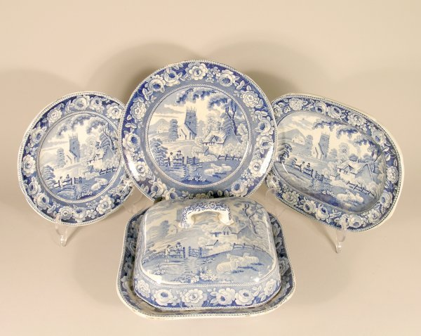 12B: A Staffordshire pearlware blue printed part dinner