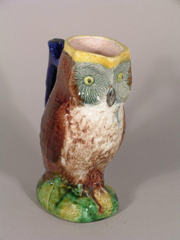 A Victorian majolica owl jug, third quarter 19th c