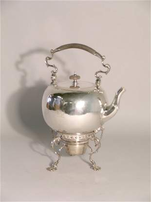 A silver spirit kettle, stand and burner, Walter &