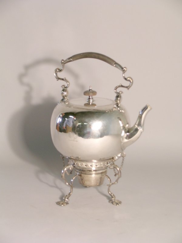 1C: A silver spirit kettle, stand and burner, Walter &