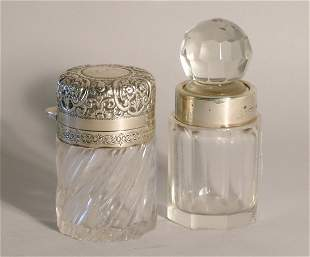 A glass and silver mounted toilet jar, J Grinsell &