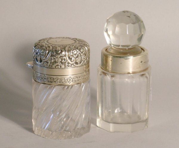 8C: A glass and silver mounted toilet jar, J Grinsell &