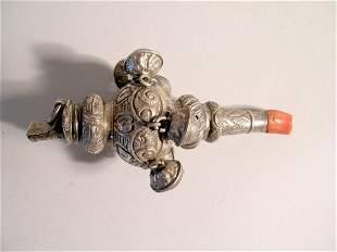 A child's silver rattle, Hilliard and Thomason Birm