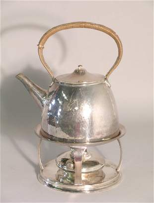 A silver plated spirit kettle, stand and burner, i