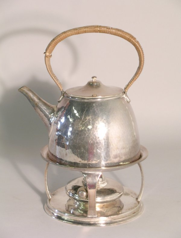 12C: A silver plated spirit kettle, stand and burner, i