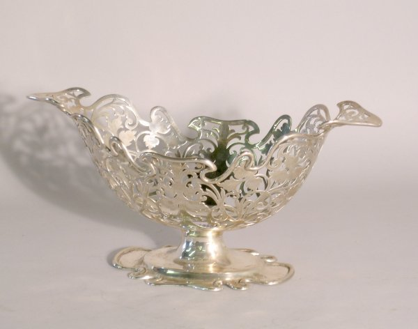 13C: A silver navette shaped bowl, George Jackson and D