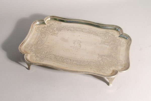 14C: A silver tray, 'H H' Sheffield 1889, of oblong for