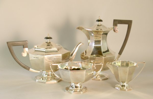 17C: A four piece silver tea service, Walker and Hall S