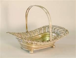 A silver basket 'T & I S' Sheffield 1820, of lozen