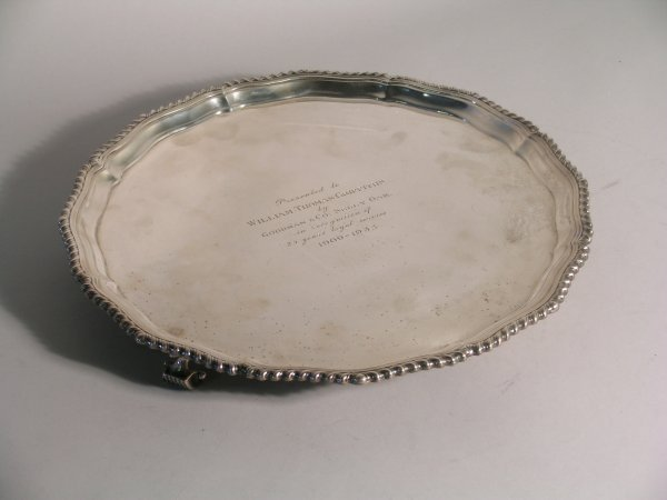 24C: A silver salver F. C. Richards, Birmingham 1933, o