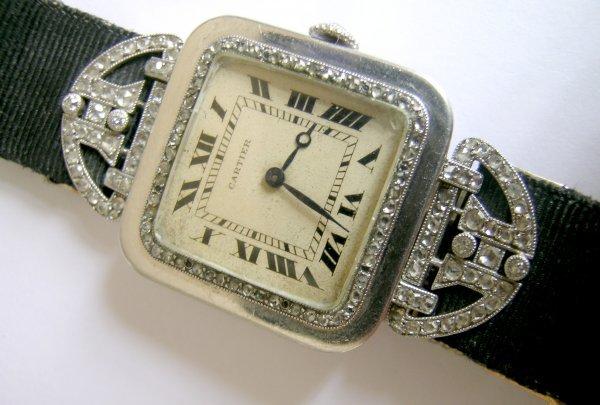 94C: An Art Deco diamond set wristwatch by Cartier, Par